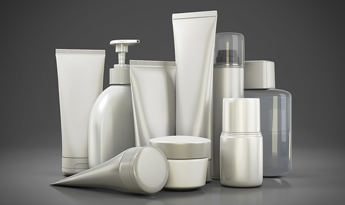 Cosmetics set on a gray background. 3d render image.